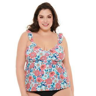 Plus Size Costa Del Sol Floral Tankini Top