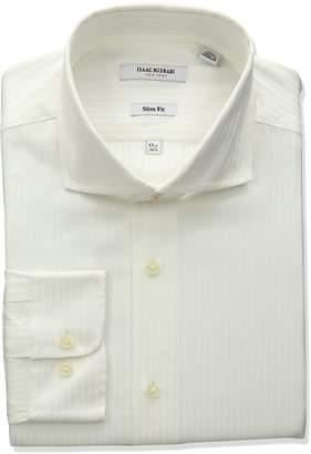 Isaac Mizrahi Men's Slim Fit Satin Stripe Cut Away Collar Dress Shirt