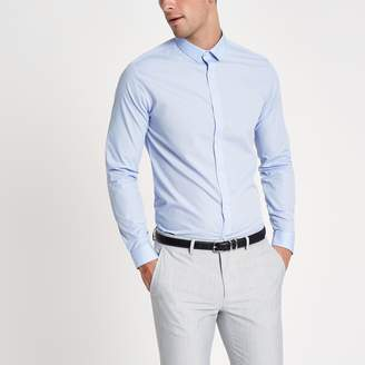 River Island Mens Light Blue long sleeve slim fit shirt