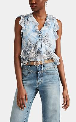 Robert Rodriguez Women's Clara Floral Cotton-Silk Blouse - Blue