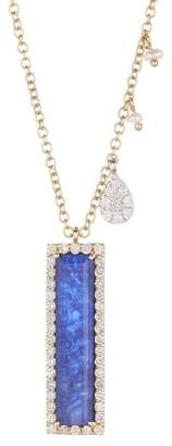Meira T 14K Yellow Gold Sodalite 2mm Pearl Diamond Charm Necklace - 0.36 ctw