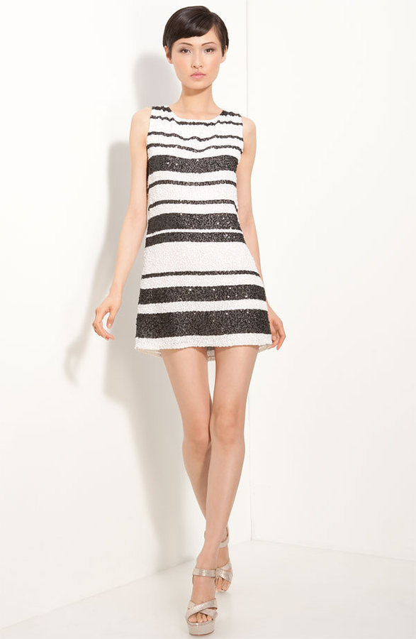 Alice + Olivia 'Kimmy' Beaded Stripe Shift Dress