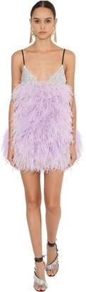 ATTICO Sequined Mini Dress W/ Feathers