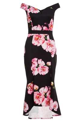 Quiz Black and Pink Bardot Floral Print Fishtail Midi