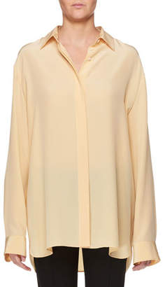 The Row Big Sisea Button-Front Oversized Silk Shirt