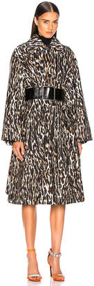 Calvin Klein Leopard Print Coat in Ivory, Brown & Black | FWRD