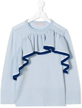 Marni ruffle trim sweatshirt