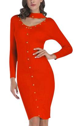 FEOYA Long Sleeve Women Knitted Dress Elegant Elastic Polyester Bodycon Party Solid Color Sweater Dress M
