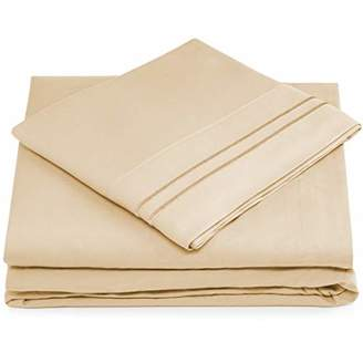 +Hotel by K-bros&Co Cosy House Collection King Size Bed Sheets - Cream Luxury Sheet Set - Deep Pocket - Super Soft Hotel Bedding - Cool & Wrinkle Free - 1 Fitted