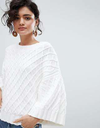 Selected Textured Cropped Sweater With Kimono Sleeves