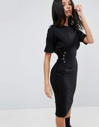 ASOS Midi T-Shirt Dress with Corset Detail $53 thestylecure.com