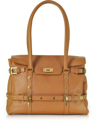 Fontanelli Camel Buckled Calf Leather Satchel Bag