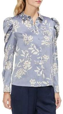 Vince Camuto Sapphire Sheer Floral Puff Shoulder Blouse