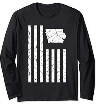 Iowa Cracked American Flag Long Sleeve State Pride