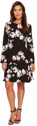 Ellen Tracy Cloque Long Sleeve Flounce Dress Women's Dress