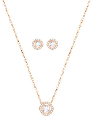 Swarovski Crystal Angelic Square Necklace and Earrings Set