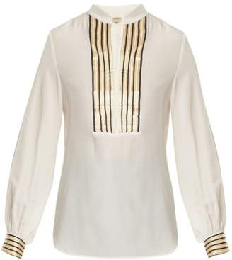 Zeus + Dione - Mandarin Collar V Neck Silk Blouse - Womens - Ivory