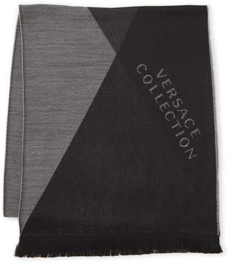 Versace Jacquard Logo Frayed Scarf