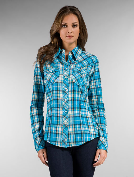 True Religion Long Sleeve Plaid Flannel in Turquoise