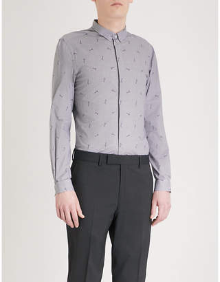 The Kooples Guitar pattern slim-fit woven shirt