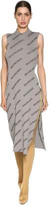 Balenciaga Logo Printed Rib Knit Wrap Dress