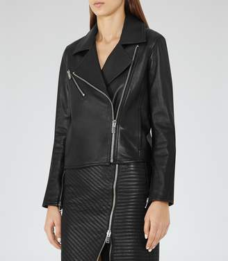 Reiss Brewer - Leather Biker Jacket in Black