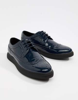 Asos DESIGN brogue shoes in navy patent with creeper sole