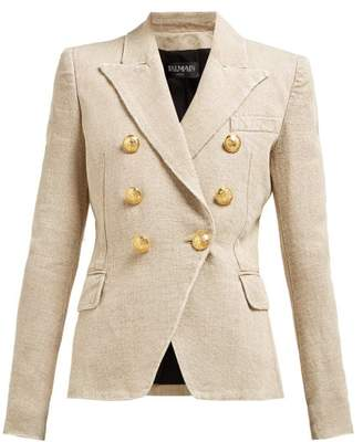 Balmain Distressed Double Breasted Linen Blazer - Womens - Beige