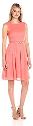 Tommy Hilfiger Women's Sleeveless Belted lace fit and Flare Dress