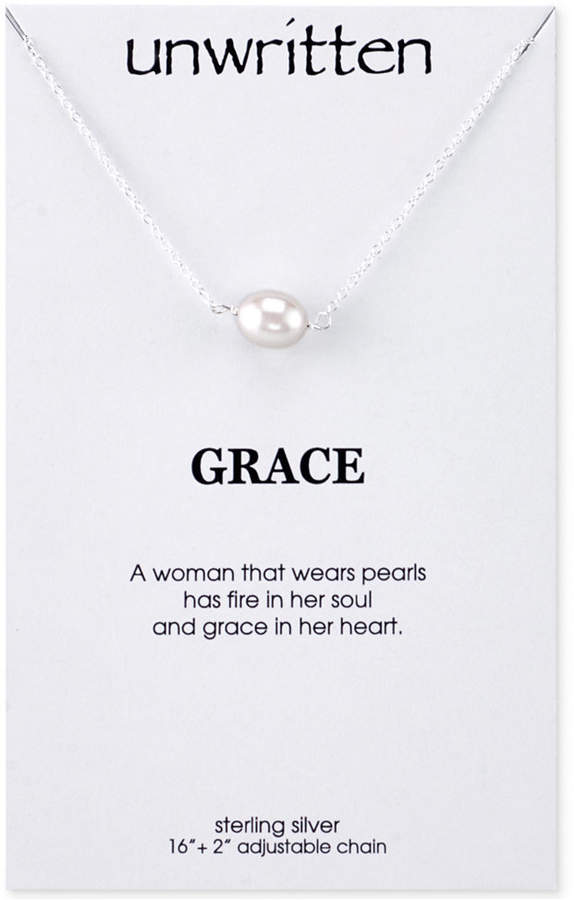 Unwritten Cultured Freshwater Pearl Pendant Necklace in Sterling Silver (8mm)