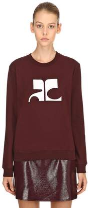 Courreges Logo Print Cotton Sweatshirt