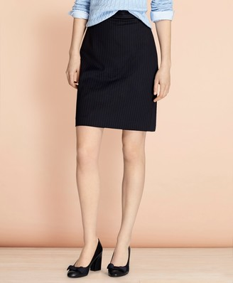 Brooks Brothers Pinstripe Stretch Wool Pencil Skirt
