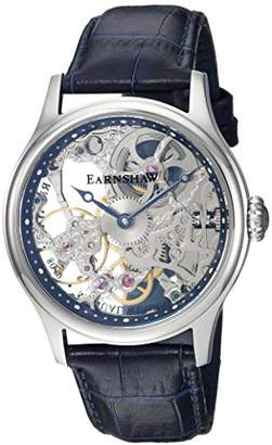 Thomas Laboratories Earnshaw Men's 'Bauer Mechanical Skeleton' Mechanical Hand Wind Stainless Steel and Leather Dress Watch