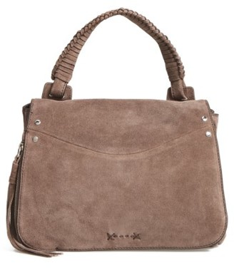 Elizabeth And James Small Trapeze Leather Satchel - Grey $495 thestylecure.com