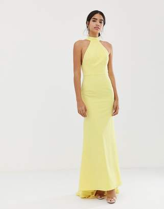 Jarlo high neck trophy maxi dress with open back detail in lemon