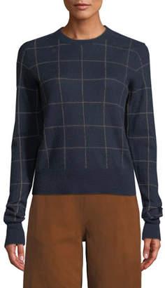Vince Windowpane Cashmere Crewneck Sweater