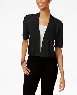 Jm Collection Open-Front Button-Sleeve Cardigan, Only at Macy's $49.50 thestylecure.com