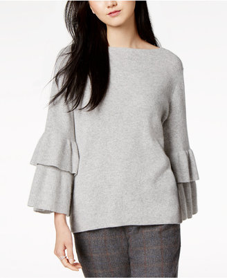 Charter Club Cashmere Ruffle-Sleeve Sweater, Created for Macy's $179 thestylecure.com