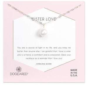 Dogeared 10-11MM Baroque Pearl and Sterling Silver Sister Love Pendant Necklace