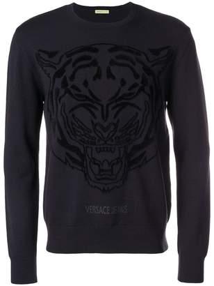 Versace logo printed crew neck sweater