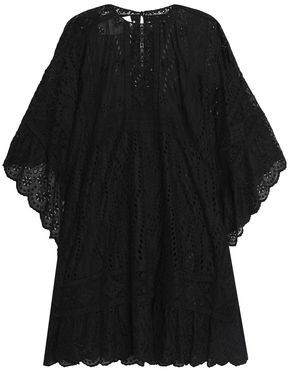 Valentino Draped Broderie Anglaise Cotton-Blend Mini Dress