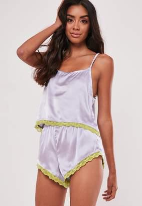 Missguided Lilac Satin Contrast Lace Cami Pyjama Set