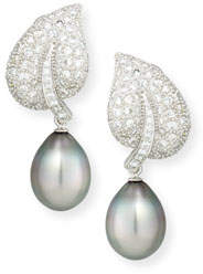 Assael 18K Tahitian Pearl & Diamond Leaf Drop Clip Earrings
