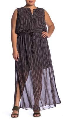 Daniel Rainn DR2 by Patterned Split Neck Maxi Dress (Plus Size)