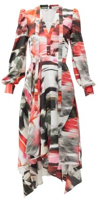 Alexander McQueen Printed Crepe Pussybow Dress - Womens - Red Print