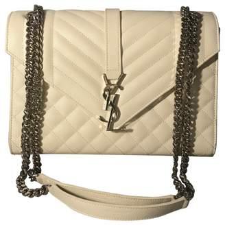 Saint Laurent Satchel monogramme Ecru Leather Handbag
