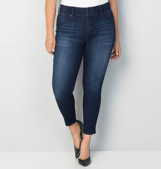 Avenue Virtual Stretch 3-Button Jegging in Dark Wash