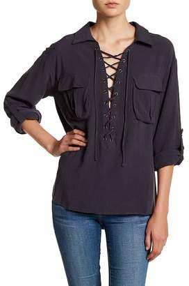 Blend of America EMORY PARK Lace-Up Linen Blouse