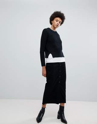 Dr. Denim Venla Step Hem Button Front Maxi Skirt