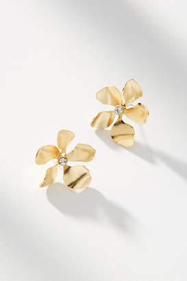 Anthropologie Metallic Flower Post Earrings